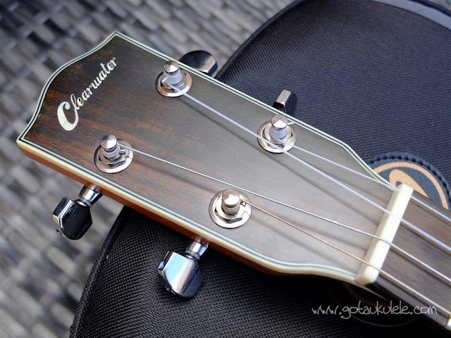 Clearwater roundback baritone ukulele headstock