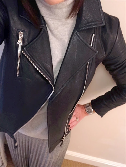 My Midlife Fashion, Massimo Dutti Leather Biker Jacket, marks and spencer pure cashmere polo neck jumper, warehouse metallic plisse midi skirt, boden boho ankle boots