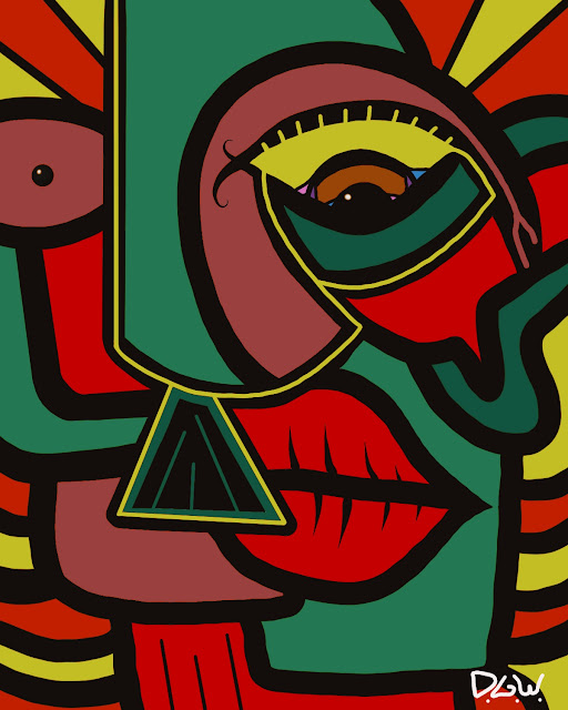 kuntz style artwork of man face with mustache