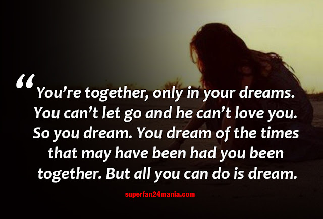 You're together, only in your dreams. You can't let go and he can't love you. So you dream. You dream of the times that may have been had you been together. But all you can do is dream.