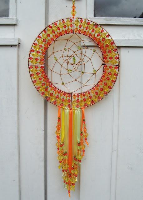 brightly colourd dreamcatcher decorative art