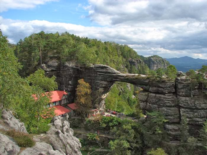 Pravcicka gate is the biggest natural arch in Europe. It is considered the most beautiful natural formation in the Czech-Saxon Switzerland region.