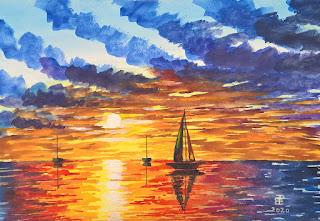 Tramonto al mare con barche