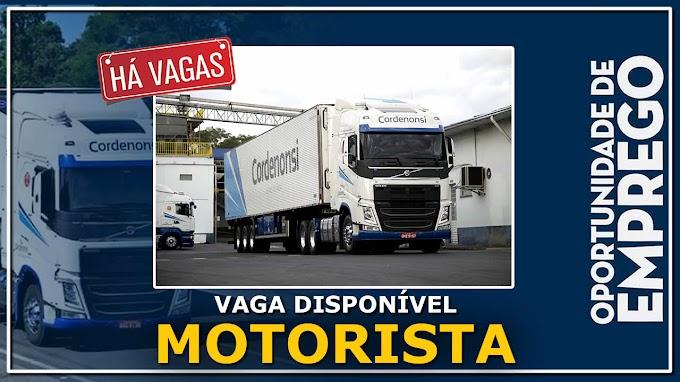 Transportadora Cordenonsi abre vagas para motorista folguista.
