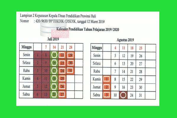 Kalender Pendidikan Provinsi Bali Tahun Pelajaran 2019/2020