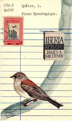 postage stamp, bird, Iberia book, James A. Michener, library card, Dada, Fluxus, mail art collage