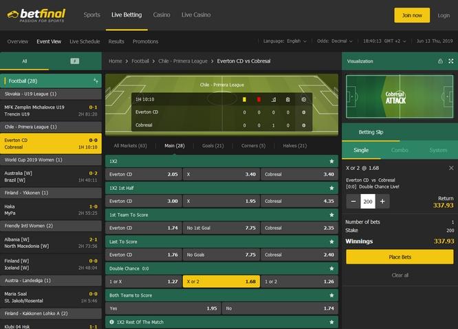 Betfinal Live Bets