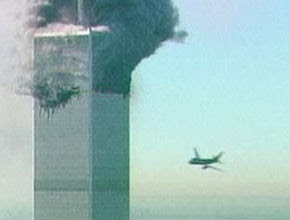 Flight 175 about to crash into the World Trade Center