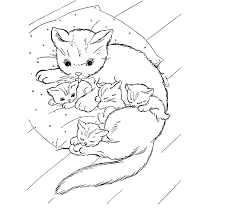 Adorable Cats And Kitten At Home Coloring Sheet For Kids