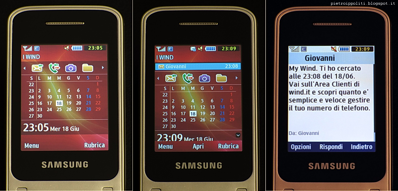 Samsung GT-C3520, schermata principale