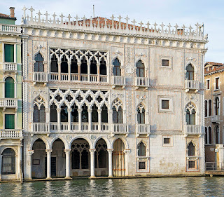 The beautiful facade of the Ca d'Oro on Venice's Grand Canal