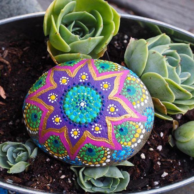 Succulent inspired mandala painted rock