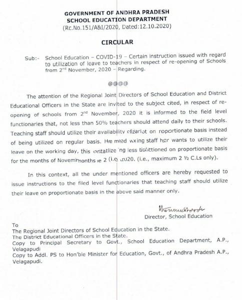Utilization of leave to teachers
