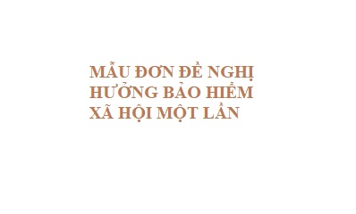 MẪU ĐƠN ĐỀ NGHỊ HƯỞNG BẢO HIỂM XÃ HỘI MỘT LẦN - LUẬT TÂN SƠN