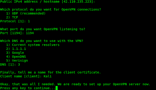 How to set up own VPN server on Kali Linux using OpenVPN