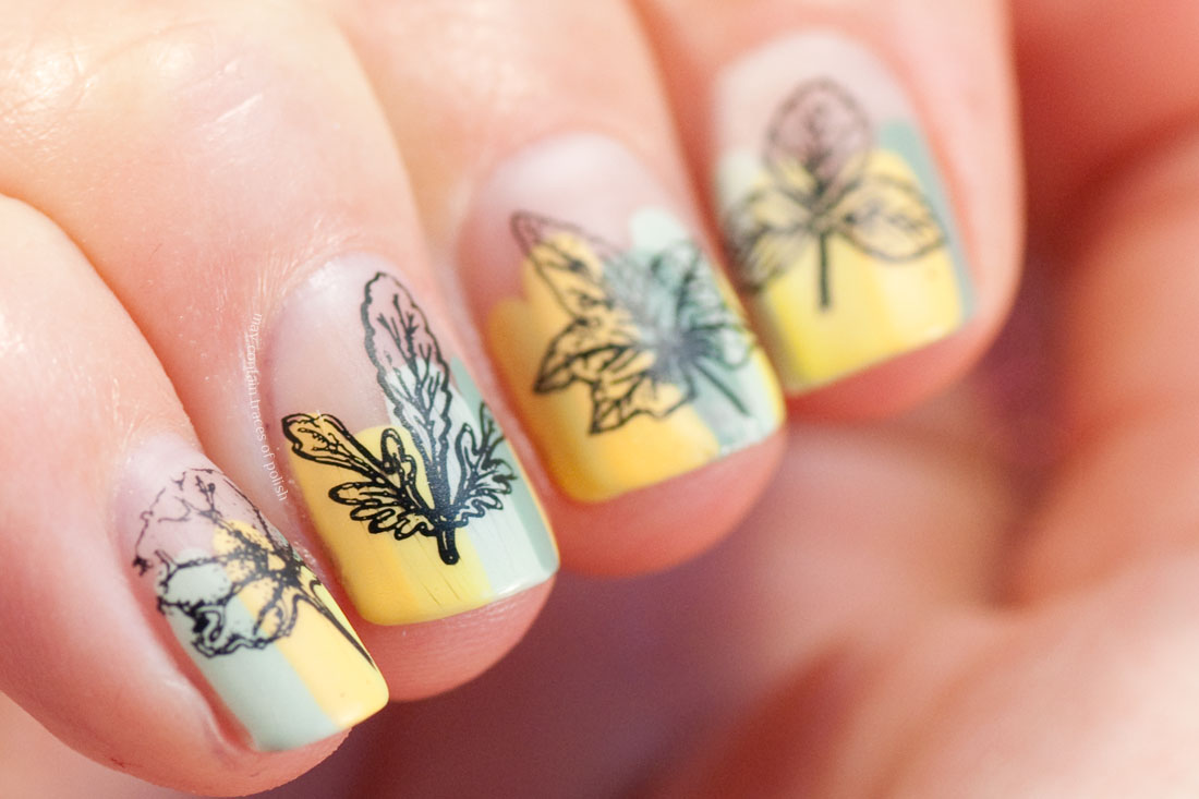 Easy nail art stamping fall leafs yellow and green manicure