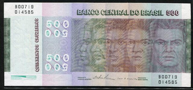 money currency 500 Cruzeiros Brazilian Commemorative banknote bill