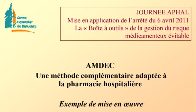 Exemple AMDEC  adaptée à  la pharmacie hospitalière