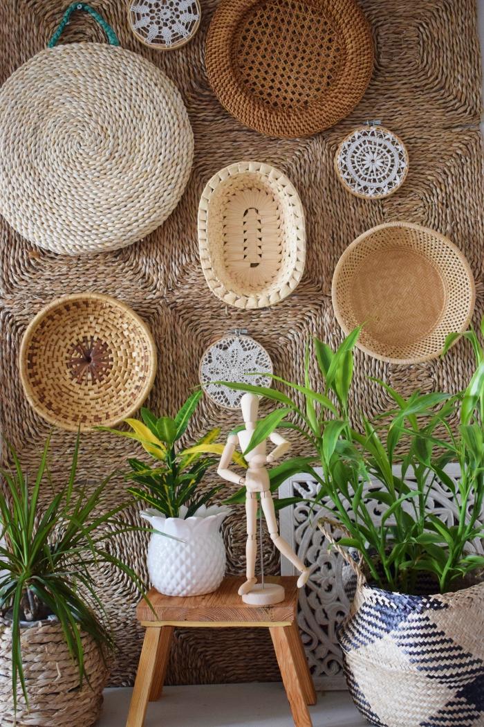 DIY - Dekoracja na ścianę zrobiona z koszyków