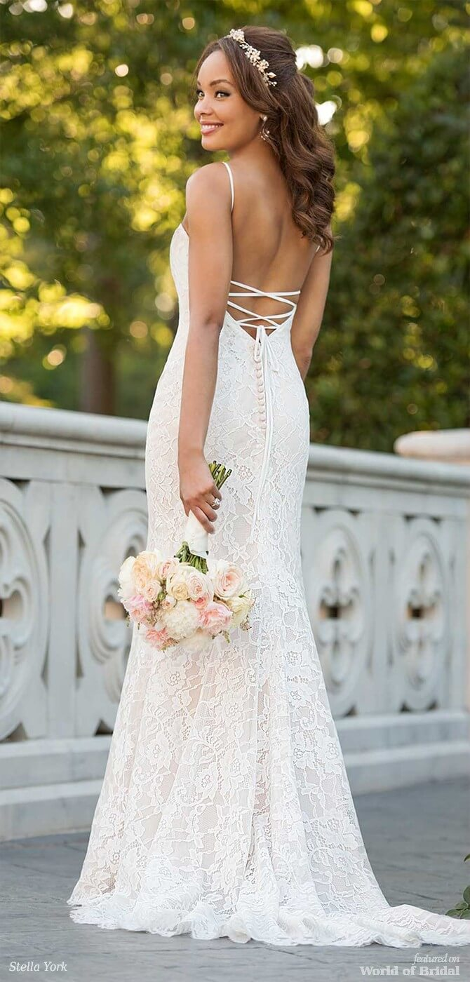 30a3eab9dae Stella York Spring 2018 Boho Wedding Dress with Floral Accents