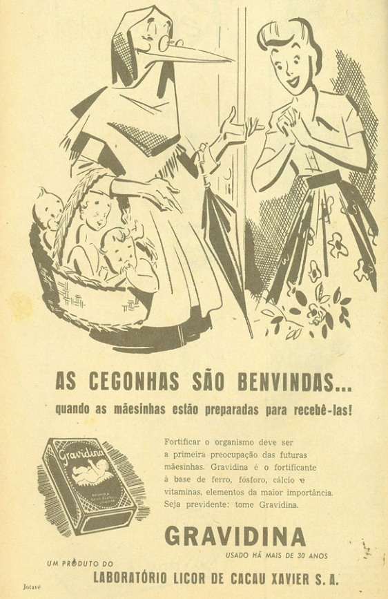 Propaganda de um fortificante para as grávidas produzido pelo Laboratório Licor de Cacau Xavier