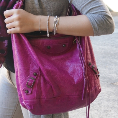silver bracelet stack, Balenciaga Day bag in 2005 magenta | Away From The Blue