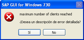 Saprouter maximum number of clients reached