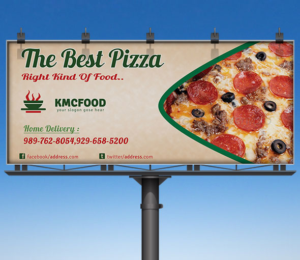 Pizza Shop Business Billboard Advertising Mockup