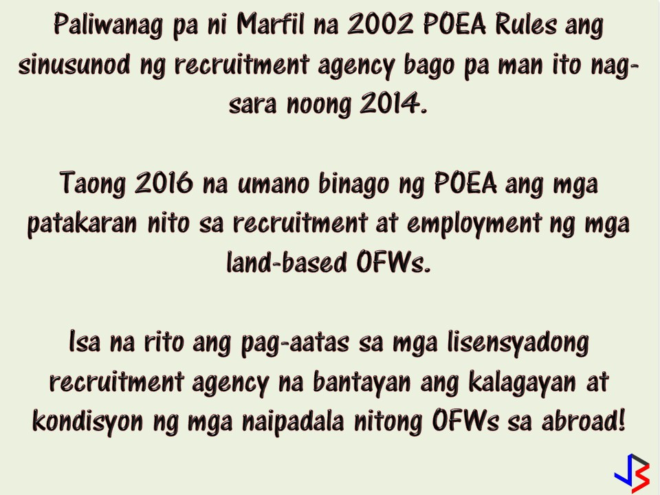 """When the Overseas Filipino Workers (OFW) got unlucky or worst died while working abroad because of maltreatment or abuse, it is very normal for a family to seek justice and asked who's in charge in the monitoring of the condition or the situation of the worker while working in a foreign land? Why is it that there is no help extended to the worker in that dire situation in spite of many agencies being tasked to do so? So we have to ask, who is to blame? Just like in the case of Joanna Demafelis, the OFW found in the freezer in Kuwait. What are the agencies task to monitor our modern day heroes? According to legal counsel of the recruitment agency of Demafelis, the responsibility for monitoring of OFWs in Kuwait should have been on the government and not on the recruitment agency. According to Atty. Jude Marfil, lawyer of former assistant general manager of Our Lady of Mt. Carmel Global E-Human Resources Incorporated, the license of the recruitment agency was already revoked months after they """"legally"""" deployed Demafelis to Kuwait.  He added that the responsibility to monitor Demafelis should have been transferred to the Philippine Overseas Employment Administration (POEA) since they were responsible for revoking the agency's license. Marfil also said that the basis of his claim is the provision of the amended Migrant Workers' Act."""