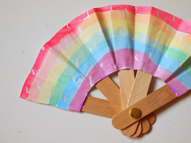 make a folding popsicle stick fan pink stripey socks