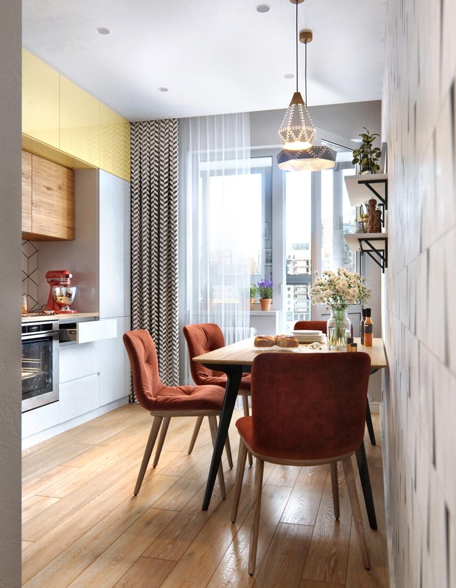 Stylowa aranżacja mieszkania z kolorowymi detalami - wystrój wnętrz, wnętrza, urządzanie mieszkania, dom, home decor, dekoracje, aranżacja wnętrz, minty inspirations, styl skandynawski, nowoczesne wnętrze, naturalne drewno, kolorowe akcenty, geometryczne wzory, stylowe wnętrze, kuchnia, kitchen, tapeta w geometryczny wzór, stół, krzesła, zabudowa kuchenna