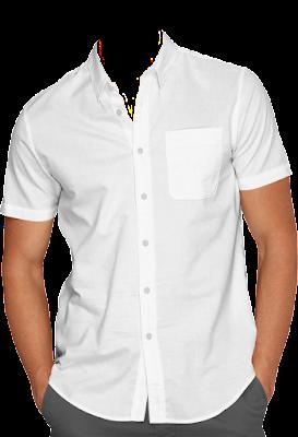 Contoh Template Kemeja Putih Pria Tanpa Dasi PNG Medium Shot (Setengah Badan) 2