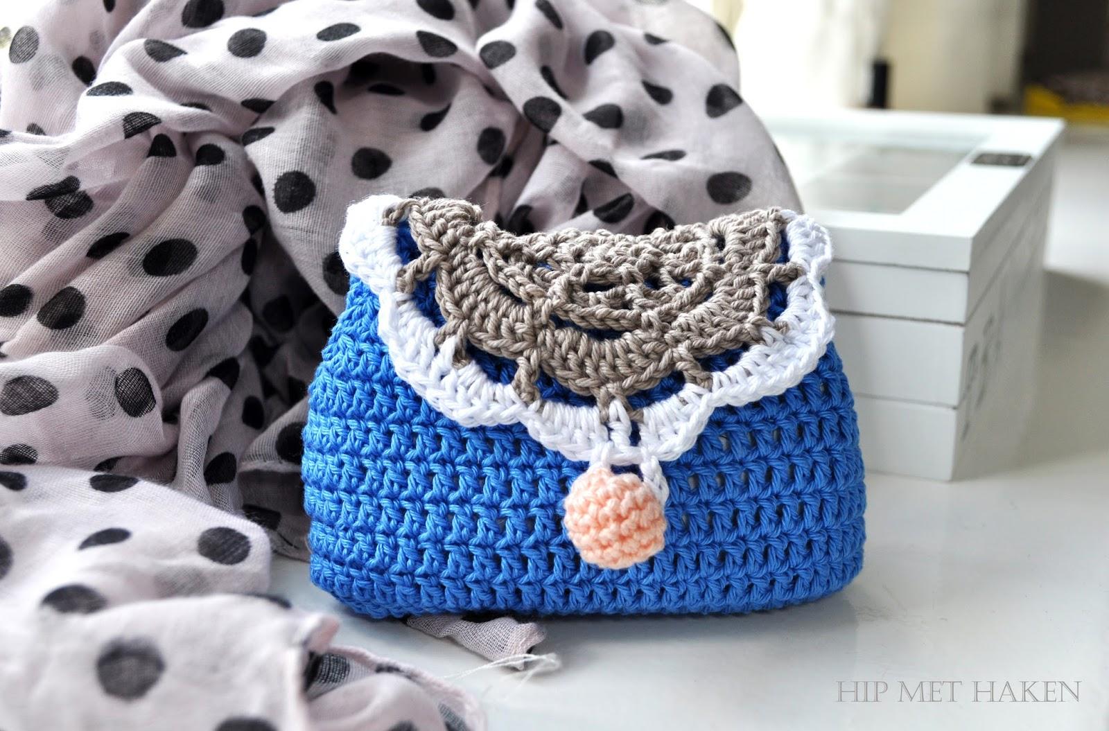 Hip Met Haken Portemonnee Blauw Clutch Purse Blue