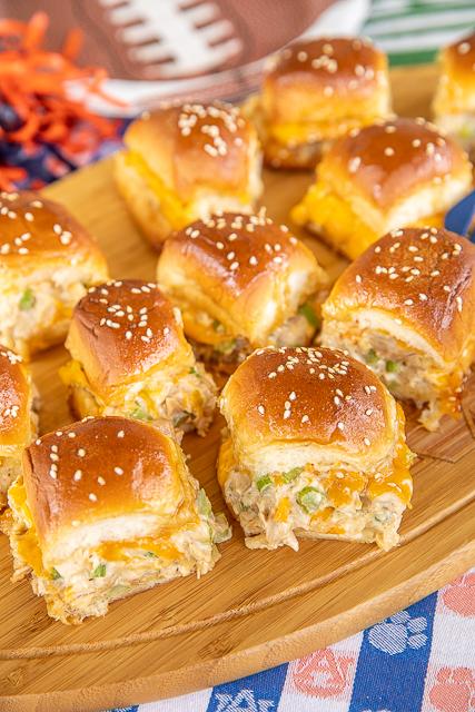 chicken salad sliders on a platter