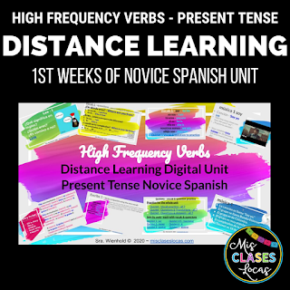 How to Start Spanish 1 online with distance learning - high frequency verb unit - shared by Mis Clases Locas