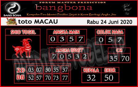 Prediksi Toto Macau Bang Bona Rabu 24 Juni 2020