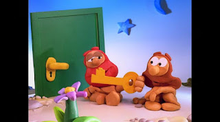 The clay cavemen try to find out in a number of different ways, Sesame Street Episode 4313 The Very End of X season 43