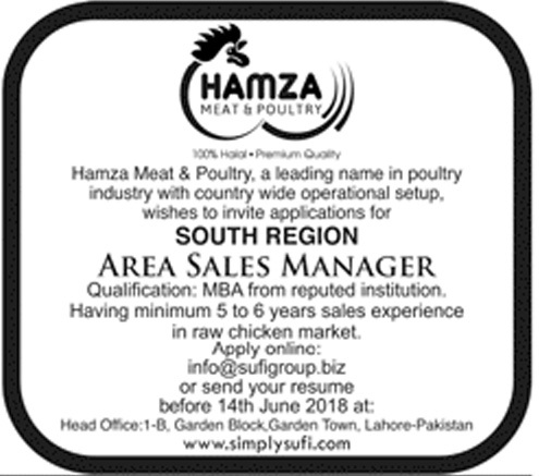 Latest Private jobs as Area Sales Manager in Hamza Meat Poultry