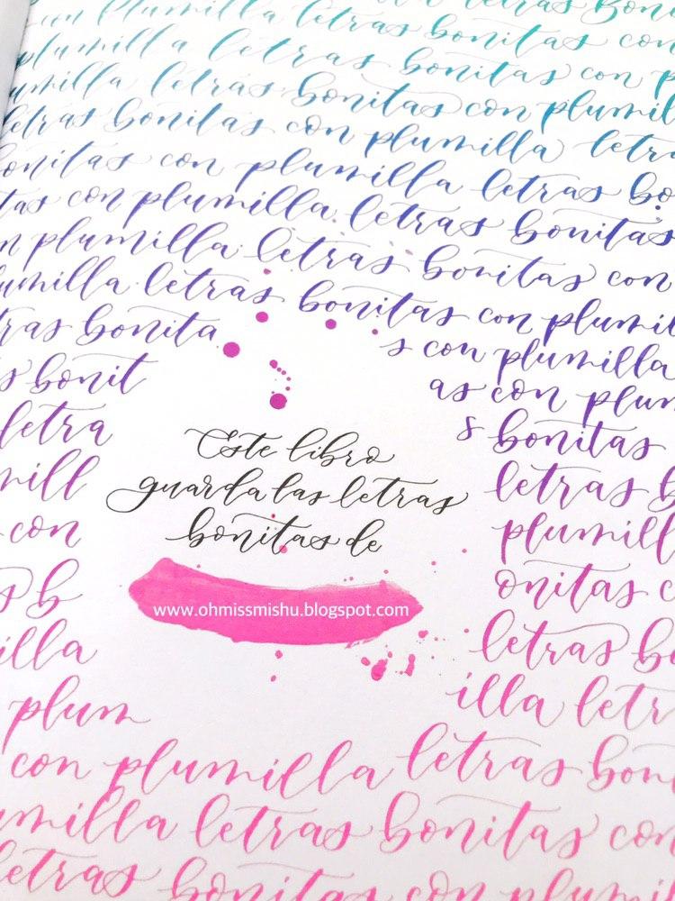 libro de caligrafía moderna con plumilla y florituras paso a paso degradados tintas y composiciones