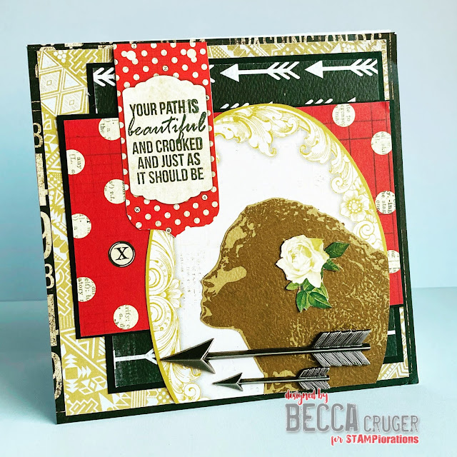Handmade card with layers of yellow, black, and red patterned paper with an African American woman's profile and encouraging text.