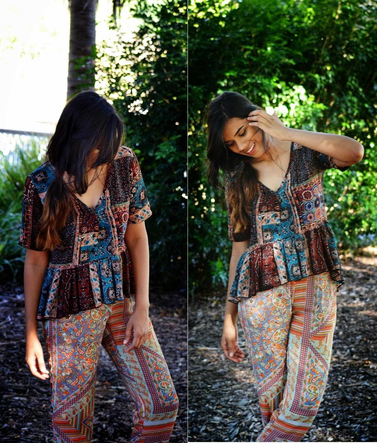 pasiley, prints, paisley smock top, paisley harem pants,