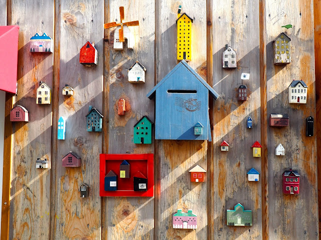 Mini houses mounted on a wall in Gamcheon Village, Busan, South Korea
