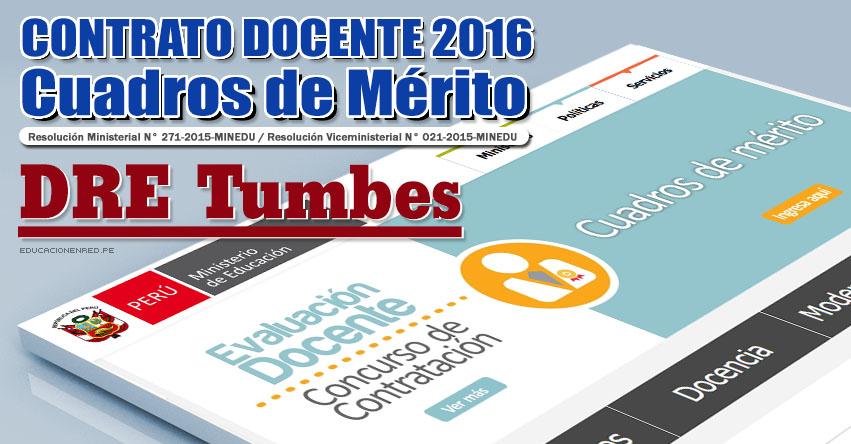 DRE Tumbes: Cuadros de Mérito para Contrato Docente 2016 (Resultados 22 Enero) - www.dret.edu.pe