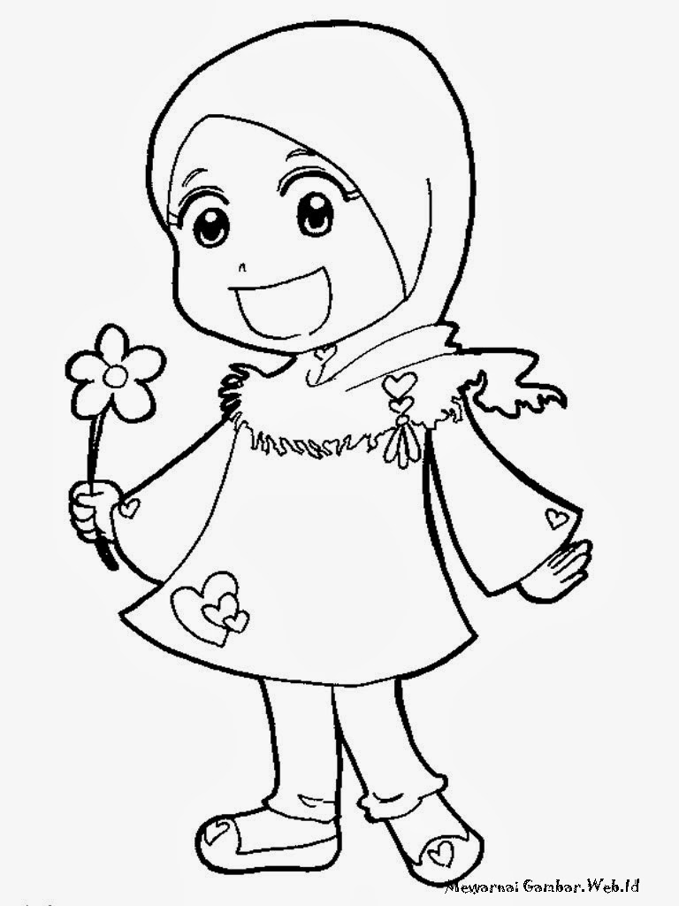 Download Mewarnai Gambar Kartun Muslimah