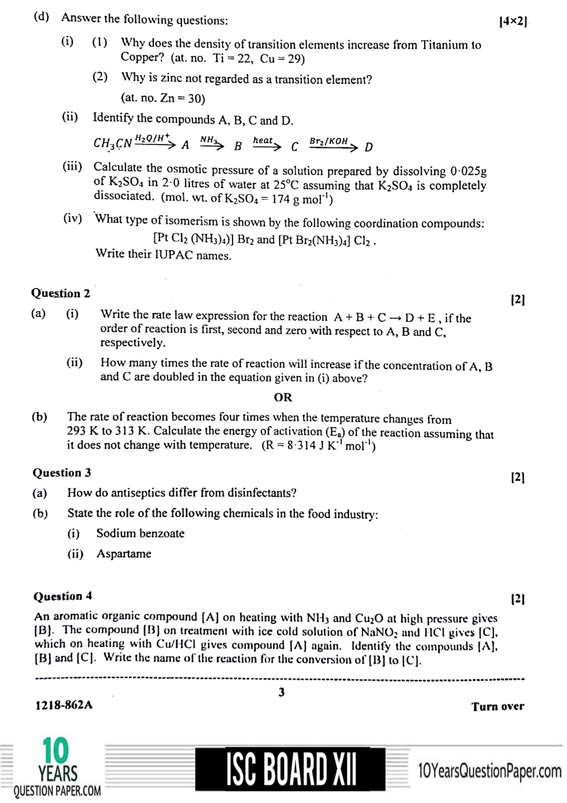 ISC Board 2018 class 12th Chemistry Theory question paper Download page-03