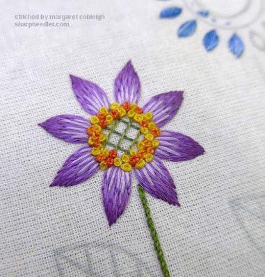 Purple flower embroidered with floche and variegated Chameleon perlé threads