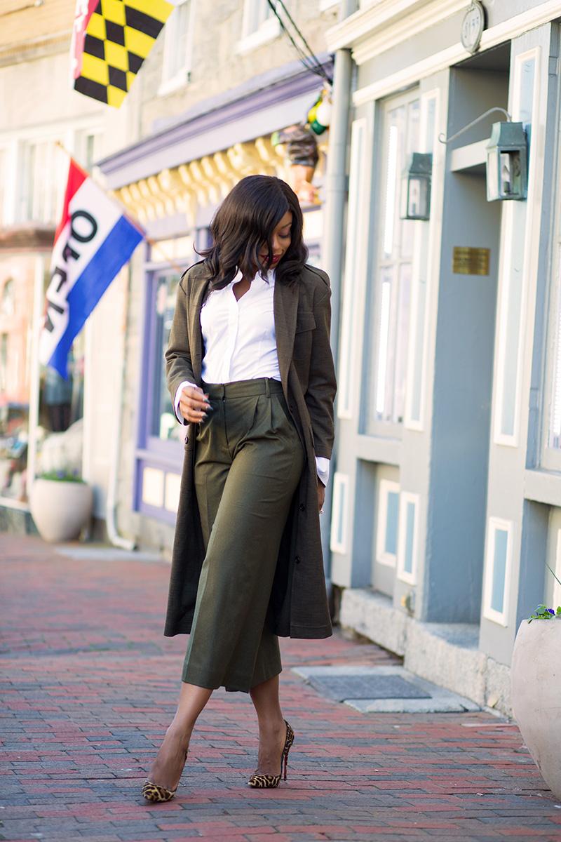 Dark green pants, asos military maxi blazer,  www.jadore-fashion.com