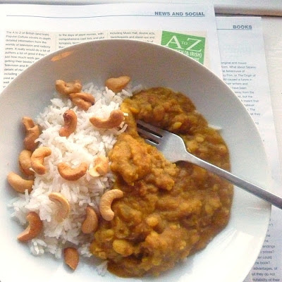 dal, rice and cashew nuts