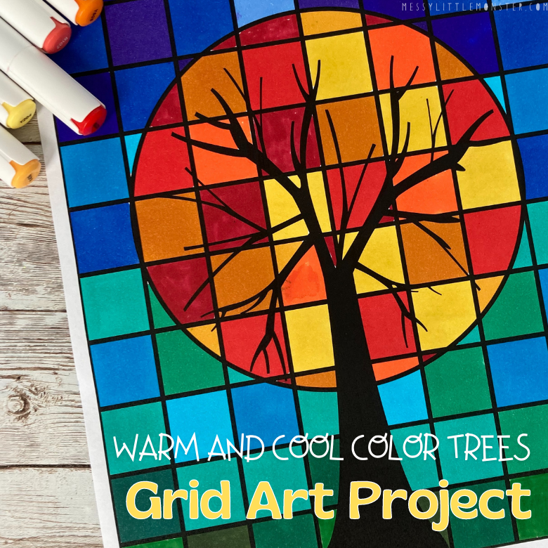 Warm and cool color trees - grid art project