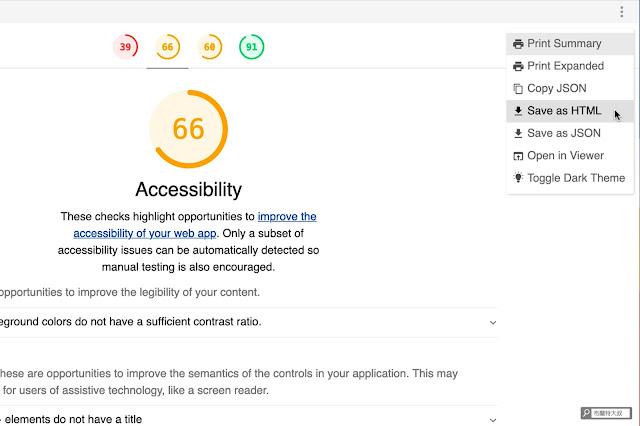 【網站經營】利用 web.dev 測量工具幫網站健檢,找出 SEO 及使用者體驗問題 - 使用者可以把測量報告「儲存」或「列印」留存使用